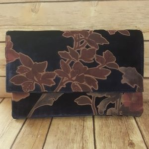 Handbags - Velvet Floral Clutch Navy Purple
